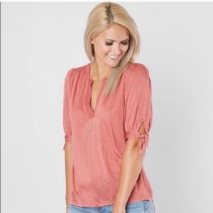 Lucky Brand Pink Striped Tie Sleeve Top
